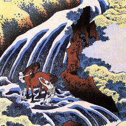 Keep Calm Collection - Waterfall And Horse Washing by Katsushika Hokusai, art print - Katsushika Hokusai (September 23, 1760 - May 10, 1849) was a Japanese artist, ukiyo-e painter and printmaker of the Edo period. He was influenced by such painters as Sesshu, and other styles of Chinese painting.