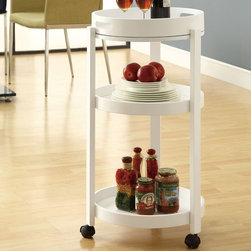 Monarch - White Bar Cart with A Serving Tray On Castors - Add an unparalleled appeal to you bar area with this modern styled bar cart. It features clean edges, straight legs, and a rich solid-wood white finish that add a bold element to your area. Its black casters make it easy to move the cart from room to room or serve your guests! Three spacious shelves offer plenty of space, ideal for make drinks and storing your bar accessoires, making this piece appropriate for both casual and formal dining occasions.