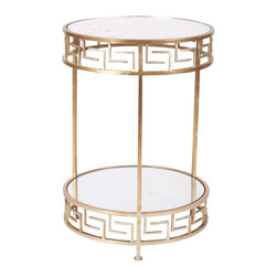 Worlds Away - Worlds Away Raphael Round Side Table-Available in Two Different Colors, Silver L - This two tier side table features Greek key edges with antique mirror tops. The table is available in a gold leaf  or silver leaf finish. It measures 18� in diameter X 26�H.
