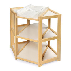 Badger Basket - Natural Diaper Corner Changing Table - An innovative and unique angle on changing tables installed on the corner space in Babys nursery! The Diaper Corner allows you to change your infant with feet pointing towards you - which is a more comfortable and natural position. Also includes a safety strap and one white, terry cloth changing pad cover. Table is made with wood, wood composites, and veneers. All paints and finishes are non-toxic. It can be used with children weighing up to 30 lbs. (13.6 kg).