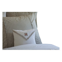 Taylor Linens - Natural Hankie Pillow - Like a love letter for your bed, this sweet natural linen accent pillow will send you off to sleep with a smile. In creamy white, soft gray and a hint of hearts-afire red, it features embroidered accents, hemstitching and 100 percent goose feather and down fill. Rest easy.