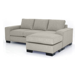 Apt2B - Melrose Revers. Sectional Chaise, Woven Gravel, 93x39x27 - This collection has the hottest look around right now! With stylish wide track arms and a low-rise design, the Melrose Collection will most definitely add a lot of look to your living room. The best part about it: the chaise ottoman can be moved to either side of the sofa. Very cool for those of us that rearrange furniture often or move a lot. Upholstered in a soft, textured poly-blend fabric. Made in the USA!