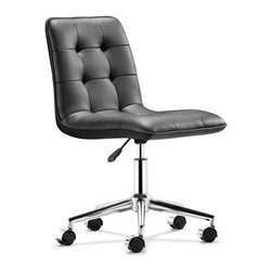 Zuo Modern - Scout Office Chair Black - Modeled after a classic design, the Scout office chair is wrapped and tufted in a soft leatherette and comes in two colors: white and black. The seat sits on a solid chrome base with an adjustable height feature.