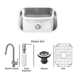 Vigo Industries - All in One 23 in. Undermount Stainless Steel Kitchen Sink and Faucet Set - Breathe new life into your kitchen with a VIGO All in One Kitchen Set featuring a 23 in. Undermount kitchen sink, faucet, soap dispenser, matching bottom grid, and sink strainer. The VG2318 single bowl sink is manufactured with 18 gauge premium 304 Series stainless steel construction with commercial grade premium satin finish. Fully undercoated and padded with a unique multi layer sound eliminating technology, which also prevents condensation. All VIGO kitchen sinks are warranted against rust. Required interior cabinet space: 25 in. Kitchen sink is cUPC and NSF-61 certified by IAPMO. All mounting hardware and cutout template provided for 1/8 in. reveal or flush installation. The VG02008ST kitchen faucet features single function Pull-Out faucet head with power stream, and is made of solid brass with a stainless steel finish. Includes an aerator that resists mineral buildup and is easy-to-clean. High-Quality ceramic disc cartridge. Retractable 360-Degree swivel spout expandable up to 30 in. Single lever water and temperature control. All mounting hardware and hot/cold waterlines are included. Water pressure tested for industry standard, 2. 2 GPM Flow Rate. Standard US plumbing 3/8 in. connections. Faucet height: 17 in. Spout reach: 7 7/8 in. Kitchen faucet is cUPC, NSF-61, and AB1953 certified by IAPMO. Faucet is ADA Compliant. 2-hole installation with soap dispenser. Soap dispenser is solid brass with an elegant stainless steel finish and fits 1 1/2 in. opening with a 3 1/2 in. spout projection. Matching bottom grid is Chrome-Plated stainless steel with vinyl feet and protective bumpers. Sink strainer is made of durable solid brass in chrome finish. All VIGO kitchen sinks and faucets have a Limited Lifetime Warranty.