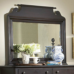 Homelegance - Homelegance Jackson Park Rectangular Mirror in Cherry - The Jackson Park Collection exemplifies the best of American traditional style. Soft lines and distinctive turnings in a dark cherry rubthrough finish are featured elements of this collection. The sliding door chest provides drawer storage  pull-out clothing rods on both sides of the piece plus the sliding door reveals shelf storage and wire management cutouts for television components. Further adding to the appeal of this group is the functionality of full extension drawers in all case pieces and a pull out tray in the night stand. Jackson Park  casual tradition with modern functionality.