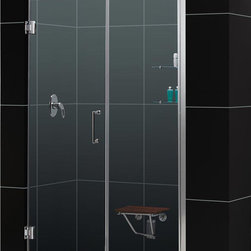 DreamLine - DreamLine SHDR-20607210S-01 Unidoor 60 to 61in Frameless Hinged Shower Door, Cle - The Unidoor from DreamLine, the only door you need to complete any shower project. The Unidoor swing shower door combines premium 3/8 in. thick tempered glass with a sleek frameless design for the look of a custom glass door at an amazing value. The frameless shower door is easy to install and extremely versatile, available in an incredible range of sizes to accommodate shower openings from 23 in. to 61 in.; Models that fit shower openings wider than 31 in. have an adjustable wall profile which allows for width or out-of-plumb adjustments up to 1 in.; Choose from the many shower door options the Unidoor collection has to offer for your bathroom renovation. 60 - 61 in. W x 72 in. H ,  3/8 (10 mm) thick clear tempered glass,  Chrome, Brushed Nickel or Oil Rubbed Bronze hardware finish,  Frameless glass design,  Width installation adjustability: 60 - 61,  Out-of-plumb installation adjustability: Up to 1 in. one side (total 1 in.),  Self-closing solid brass wall mount hinges,  Stationary glass panel with two glass shelves,  Door opening: 29 in.,  Stationary panel: 30 in.,  Material: Tempered Glass, Aluminum