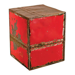 Groovystuff - Groovystuff Cube Ruby Moonshine Side Table/Stool - If you're looking for the urban chic of the Moonshiner's End Tables without the graffiti, look no further. This square version is awash with a bold red, which will ignite conversations in any room