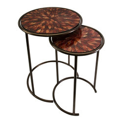 "Imax Worldwide Home - Mashaka Handcrafted Mosaic Glass Tables - Set of 2 - Brilliant red toned glass mosaic tops the handcrafted set of two Mashaka nesting tables in petal shaped forms.; Country of Origin: Indonesia; Weight: 12.12 lbs; Dimensions: 21-23""h x 13-17""d"