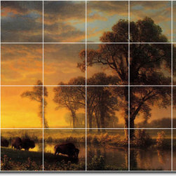 Picture-Tiles, LLC - Western Kansas Tile Mural By Albert Bierstadt - * MURAL SIZE: 24x36 inch tile mural using (24) 6x6 ceramic tiles-satin finish.