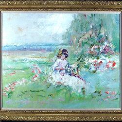 E. Joseph Fontaine, Girl in Meadow 2, Oil Painting - Artist:  E. Joseph Fontaine, American (1929 - 2004)