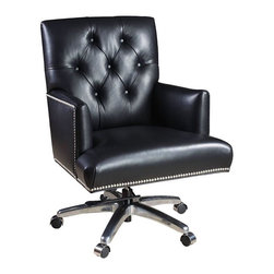 """Hooker Furniture - Executive Chair - Nouveau Black Leather - White glove, in-home delivery!  For this item, additional shipping fee will apply.  Developed by one of America's premier manufacturers to offer quality furniture at affordable prices.  Each piece is meticulously hand-crafted using the most exquisite leathers in the world.  The Executive Chair is available in Valor Chocolate or Nouveau Black leather.  Frame Construction- Kiln dried, laminated, and select hardwoods that are precision machined for fluid and consistent shape.  Valor Chocolate Leg Finish: Dark Walnut.  Nouveau Black Leg: Chrome.  Inside Dimensions: 18"""" w x 20"""" d  Seat Height adjusts: 18"""" h to 20"""" h and Arm Height adjusts: 24 1/2"""" h to 26 1/2"""" h  Padding- Pattern cut urethane foam that is padded with felt polyester fibers, assuring the important qualities of comfort, loft, resilience, and good recovery.  Seat- A high resilient, high density foam core wrapped with virgin polyester fibers, assuring luxurious comfort and pleasing crown appearance.  This is then covered with a special ticking for pillow soft comfort.  Seat Back- Filled with precision cut foam and highly resilient polyester fibers or filled with 100% virgin polyester fibers enclosed in a special ticking for pillow soft comfort.  The color of fabric and leather may vary from that shown on screen."""