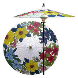 "Oriental-Décor - Eastern Bouquet (Beijing White) - One of our most popular sellers, this colorful and elegant patio umbrella depicts a bouquet of Asian flowers, which are symbolic of goodness and purity. Let this stunning umbrella be the perfect crowning touch to your outdoor furnishings.  - 7 foot umbrella pole constructed of rich stained oak hardwood.  - Each umbrella is entirely handcrafted down to the finest detail.  - Oil-treated cotton umbrella shades are all hand-painted by our master artists.  - Dual position shade height allows for full coverage or a better view of the painted shade.  - Waterproof and weatherproof.  - Two-piece pole fastens securely with a polished metal coupling.  - Pole diameter of 1.5"" easily fits into any standard size umbrella base or table.  - Optional umbrella base available - handcrafted from stained oak hardwood."