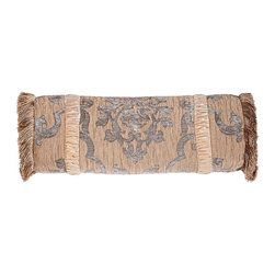 """Isabella Collection by Kathy Fielder - Fringed Neckroll Pillow with Velvet Insets 7.5"""" x 17"""" - BLUE/GOLD (NECKROLL) - Isabella Collection by Kathy FielderFringed Neckroll Pillow with Velvet Insets 7.5"""" x 17"""""""