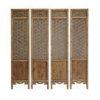 Golden Lotus - Set of 4 Pieces Geometric Flower 2 Sides Door Panel - This is a simple decorative room divider or screen with natural wood finish with natural wood pattern. Each one has different result after age and usage. The center theme is clean geometric star flower formation see through open pattern. The bottom is solid panel with variety of pattern on each side.