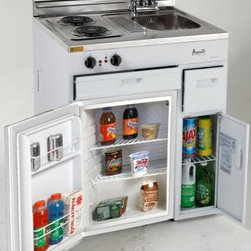 "Avanti - CK3016 30"" Complete Compact Kitchen With 2.2 Cu. Ft. All Refrigerator  Stainless - The Avanti CK3016 30 in complete compact kitchen with 30 cu ft auto-defrost all-refrigerator features a 2 coil element cooktop a sinkfaucet and an integrated backsplash The CK3016 has white cabinets and a stainless steel countertop that includes powe..."