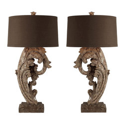 Aidan Gray - Aidan Gray Brighton and Hove Lamp Set L82 SET - Created from cast resin and hand-finished in Metallic Brown, the details of the lamps really stand out.