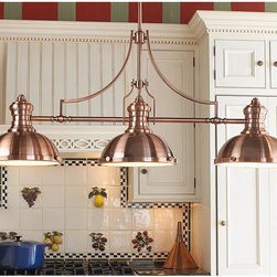 Period Pendant Island Chandelier, Copper - This copper beauty is perfect for the farmhouse look. It is classic, charming and just the right size for over a kitchen island.