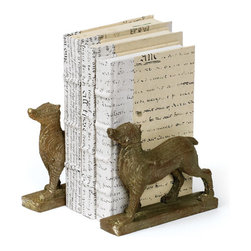 Go Home - Pair of Stay Doggy Book End - Stay Doggy Book End sophisticated resin and vintage painted. These bookends are heavy enough to hold up your reading collection and big art books. Sold in a pair.