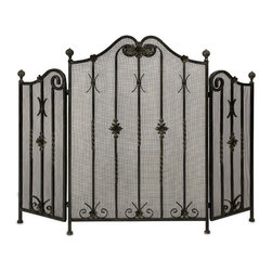 IMAX CORPORATION - Iron Fireplace Screen - Traditional iron fireplace screen with intricate metalwork detail. Tri-fold. Find home furnishings, decor, and accessories from Posh Urban Furnishings. Beautiful, stylish furniture and decor that will brighten your home instantly. Shop modern, traditional, vintage, and world designs.