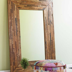 "Viva Tarra - Douglas Fir Trimmings Floor Mirror - Our masterful bed designer hates to part with trimmings from the Douglas fir he reclaims and reworks so artfully for us. Created from leftover scraps, this handsome mirror shows off the character of the wood's noble grain and our designer's ingenuity. Made in USA. 44""W x 64""H x 1.75""D.  Note: Allow 6-8 weeks for delivery,see shipping info."