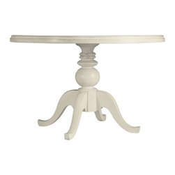 """Stanley-Coastal Living - Round Pedestal Table - Recreate the unstructured ease of mornings at the beach with the Round Pedestal Table from Stanley Coastal Living. This 48"""" dining table has an easy-going cottage inspired design that features a turned pedestal and gracefully curved legs. Constructed of select hardwoods and poplar veneer, this seaworthy table is painted in a creamy sand dollar finish, thus adding to its coastal charm. Flexible and functional, this lovely table beautifully complements your casual kitchen or formal dining space."""