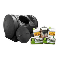 Good Ideas 52 Gallon Compost Wizard Starter Kit - With everything you need to start composting the Good Ideas 52 Gallon Compost Wizard Starter Kit helps you to save time and money. Designed to be safe for pets and children this compost bin arrives fully assembled at your door. The black color helps to absorb heat while the wheeled base makes it easy to move this bin. Made in the USA this compost bin includes two accelerator pouches which inject your batch with a concentrated injection of enzymes that helps make compost three times faster. Able to hold up to 52 gallons of compost this starter kit also includes two compost fiber bricks as well as a compost pail which works perfectly as a kitchen composter or as a caddy to transport items out to your composter. The stainless steel pail features a charcoal filter to block out unwanted smells. A great way to make your own fertilizer and help preserve the earth this compost wizard starter kit is ideal for anyone who wants to start composting. More about the compost bin Measures 30L x 22W x 23.5H inches weighs 27 lbs. Made in the USA with FDA approved materials Rich dark color absorbs the sun's heat to keep compost warm Arrives fully assembled Just turn once a week and after adding new material Bin features handles for easier turning 12-inch twist-off lid keeps it safely closed but is easy to remove Ends of bin have aeration holes for crucial airflow Removable wheeled base for effortless turning Charcoal filter blocks unwanted smells Safe for pets and children About Good Ideas Inc.Based in Lake City Penn. Good Ideas Inc. was founded in 2001 and has been promoting green living ever since. Many of their innovative products have been featured in magazines newspapers TV shows and news stories. Good Ideas' products focus on sustainability and are developed from practical common-sense ideas generated from consumer needs. Good Ideas' great products include the Rain Wizard Big Blue Rain Saver Compost Wizard and many more. Please n