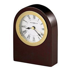 Howard Miller - Howard Miller Rosebury Arch Table Top Clock - Howard Miller - Mantel / Table Clocks - 645547 - This traditional contemporary table clock has a simple line style and offers a radiant charm for home or office. Distinguished by its warm rosewood casing classic white dial and gold-tone bezel the Rosebury Arch is a natural for any traditional upscale decor theme. A protective felt bottom and battery-operated quartz movement complete the appeal of the Rosebury Arch Table Top Clock.