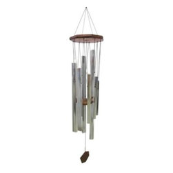JW Stannard Sixth Dimension 41 in. Illumination Wind Chime - Instead of going to your happy place, bring that happy place to you with the JW Stannard Sixth Dimension 41 in. Illumination Wind Chime. The effervescent sounds produced through these bells are hand-tuned to enlighten your senses. Each of the eight chimes is crafted from corrosion-resistant metals that precision-tuned and hand-formed to create a perfect musical instrument. The eight hexagonal silver tube chimes are tuned to G#, C#, E, G#, C#, E, G# and C#. Indestructible Diamond Line filament holds the chimes together, and nylon grommets add long life to the body. The tops and wind catchers are made from weather-resistant hardwoods and hand-rubbed with three coats of marine varnish to preserve their natural luster. The musical notes played by the chime are Laser engraved on the hardwood wind catcherIncomparable SoundIndividually hand-tuned bells ensure that the wind chime plays exactly the notes intended. The musical notes that the chime plays are laser-engraved on the hardwood wind catcher.Protective nylon grommets minimize cord contact with the bells, increasing cord life by 700% and producing a clearer, cleaner sound.Soft wood clapper ensures that you hear just the musical sounds without the clanking sound of wood striking metal.Spacing, bell arrangement, and cord length are carefully calculated so that each bell is struck in the precise location to achieve the desired tone.Durable QualityEach bell is made of a specially developed metal alloy that will maintain the chime's perfect pitch and never rust.Diamond Line fiber holds most Stannard chimes together. This is an indestructible fiber used to tether satellites.Tops and wind catchers are made from weather-resistant hardwoods and hand-rubbed with three coats of marine varnish to preserve their natural luster.ConvenienceRemovable hangers slip out to wrap around tree branches or any closed support.The on/off magnetic clapper can be slid to the top of the