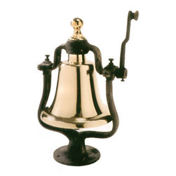 """Polished Brass Victory Bell - The polished brass victory bell measures 16.5"""" x 8""""Dia. It is an outstanding piece that will make the ideal decoration for the bar, porch, boat, office or home. When rang this bell makes a full/firm sound. It is mounted to a sturdy cast iron stand. It is thick and substantial in size weighing 30 lbs."""