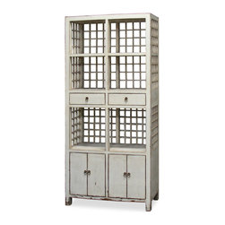 China Furniture and Arts - Elmwood Ming Display Cabinet - Simple in design, showcasing its Ming aesthetic, this bookcase is sure to make a great addition to your home. Offers plenty of shelving and storage space allowing you to display your favorite books or treasured collectibles. Features six open shelves, two drawers and two double door compartments. One removable shelf behind each set of doors for storage convenience. Constructed using traditional joinery technique by artisans in China. Hand applied distress white finish. Fully assembled.