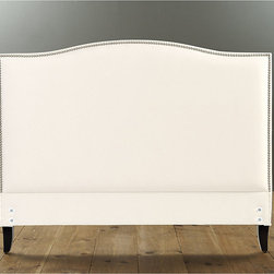 Ballard Designs - Caroline Headboard with Pewter Nailheads Full - Tapered hardwood legs. Cognac finish. Does not include side rails or footboard. Available in over 200 fabrics or send us your own. A crisp row of hand tacked pewter nailheads define the gracefully sloped back that makes our Caroline Headboard so inviting. Solid hardwood frame is padded for cozy comfort and expertly upholstered in the USA. Caroline Headboard features: . . . .