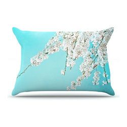"Kess InHouse - Monika Strigel ""Hanami"" Teal White Pillow Case, Standard (30"" x 20"") - This pillowcase, is just as bunny soft as the Kess InHouse duvet. It's made of microfiber velvety fleece. This machine washable fleece pillow case is the perfect accent to any duvet. Be your Bed's Curator."