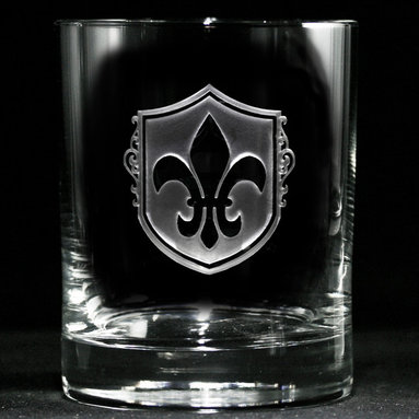 Fleur De Lis, French Whiskey, Scotch, Bourbon Glass - Personalized custom whiskey, scotch and bourbon glasses are the perfect gift for bridal shower, engagement, wedding, birthday and for the man or woman who has everything. Real estate agents and interior designers often give our personalized barware to special clients as housewarming or thank you gifts. Not engraved, but deeply sand carved, each of our glasses is hand crafted. The background is carved away, leaving the monogram and design raised from the glass in a 3D manner. Simply exquisite. Crystal Imagery