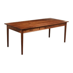 Urban Forest Furniture - Three Drawer Dining Table - Handmade three drawer walnut dining table. The drawers open to both sides of the table.
