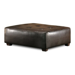 Chelsea Home Square Ottoman - Brown - Perfect for a home or business office as well as the living room or den, this luxurious Chelsea Home Square Ottoman – Brown features a six-button topside design and fashionable vinyl upholstery. Coming in a dark chocolate brown, the square-shaped ottoman measures an exact 39 by 39 inches. The frame was constructed of solid hardwood and holds one high-density foam cushion that contains an innovative sinuous spring system for maximum support of your feet and legs or as a chair should the situation call for it. Sits 16 inches off the ground at its tallest point.About Chelsea Home FurnitureProviding home elegance in upholstery products such as recliners, stationary upholstery, leather, and accent furniture including chairs, chaises, and benches is the most important part of Chelsea Home Furniture's operations. Bringing high quality, classic and traditional designs that remain fresh for generations to customers' homes is no burden, but a love for hospitality and home beauty. The majority of Chelsea Home Furniture's products are made in the USA, while all are sought after throughout the industry and will remain a staple in home furnishings.