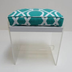 Vintage Lucite Stool With Turquoise Fabric