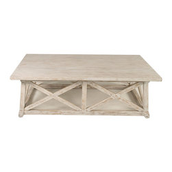 Sutton Coffee Table - White Wash - An authentic classic hand-built in solid mahogany and finished with a perfect tone for deepening the interest of your d�cor, the Sutton Coffee Table has x-shaped arrangements in each side to support the flat tabletop and shape this transitional coffee table with old-world appeal.  This attractive piece is rectangular and generously sized, simple but never plain; protruding feet with curved tops add further stability to a timeless shape.