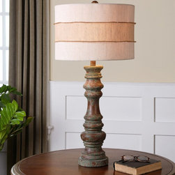 Jim Parsons - Jim Parsons Gerlind Wooden Traditional Table Lamp X-1-67162 - Heavily distressed dark pecan finish with a light gray wash. The round hardback drum shade is a crisp beige linen fabric with light slubbing and a crude burlap wrap around the center.