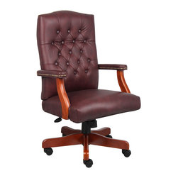 Boss Chairs - Boss Chairs Boss Executive Burgundy Leather Chair w/ Cherry Finish - Classic traditional button tufted styling. Elegant traditional Cherry finish on all wood components. Hand applied brass nails. Matching guest chair model (B969).