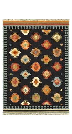 """Loloi Rugs - Loloi Rugs Isara Collection - Black / Multi, 3'-6"""" x 5'-6"""" - The Isara Collection finds inspiration from antique Turkish and Persian kilims, updating the vintage looks for today. These reversible tribal and Southwestern looks maintain an antique, worn appearance, thanks to a meticulous coloring process. Made in India of 100% wool, Isara is a new classic for today."""