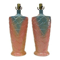 Used Bright Sorbet Toned Crackle Finish Lamps - A Pair - A fabulous pair of bright sorbet toned (blue, pink & peach) glossy crackle finish lamps. They feature a raised detailed design on the lamp body. The original wiring is in working condition. Please note, there is minor wear to the neck & a minor mark to finish at base.