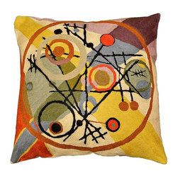 "Modern Wool - Kandinsky Circles in Circle Pillow Cover Hand Embroidered 18"" x 18"" - Kandinsky Circles in Circle Pillow Cover - Modern Artist Wassily Kandinsky used the form of concentric circles to portray the soul. Here, the Kashmiri handcrafted interpretation of Kandinsky's Composition VI has elements of seed, of ovum, of birth and rebirth, the latter of which was a central theme in the composition. Rendered here as chain stitch embroidery in art silk, this cushion cover can create a new personality for any room in which you choose to use it. Star fragments and enigmatic hieroglyphs artfully stitched in the finest Kashmir wool chainstitch needlework. Cosmic colors like blue, lavender and silver complement earthier tones of terra cotta, harvest green and amber to recreate a design based on the work of influential Russian artist, Wassily Kandinsky.The exciting pattern evokes the thought of a ladder to the stars, a comet's tail,or a star map. This cover could grace the cabin of your boat or the chair in your solarium and yet be equally as comfortable in your den. Durable and easy to clean, this toss pillow will catch the eye of every passerby."