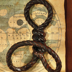 Rope Wall Hook - Cast Iron - Rust - Artful and intriguing, the Rope Wall Hook in cast iron rust can be used as stand alone wall d�cor or as a functional wall hook in your guest bath or mud room for guests to hang towels or jackets on. Decidedly nautical, these hooks are perfect for your coastal abode or quaint beach cottage.