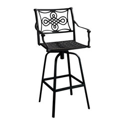 Vienna Cast Aluminum Swivel Bar Chair - Give your patio or deck a fresh look with the Vienna Cast Aluminum Swivel Bar Chair. Perfect for a smaller outdoor space, this metal bar chair provides seating while also adding style.