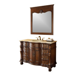 "Old World Hopkinton Bathroom Sink Vanity Cabinet w/matching mirror - This 50"" single sink vanity will be the keystone of your master bath. The strong, classic design commands attention and speaks volumes about your elegant taste. The exceptional detailing and solid marble counter top are hand done."