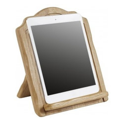 """Europe2You - Wooden Arched iPad and Cookbook Holder - With today's tech-savvy home chef in mind, Europe2You had deftly created the Arched iPad & Cookbook Holder to use as a tablet and cookbook stand all in one. Allows you to easily view recipes, read books, browse, shop or watch movies on your iPad and help you avoid smudges and stains on your cookbook pages and recipes while you're cooking. The beautiful 19th Century European poplar is an eco-friendly, naturally-replenishing wood with long-life durability. With the sturdy base, this book stand is also an attractive home library addition for book or magazine display.      * Dimensions: 3.7""""W x 11.5""""H x 10""""D"""