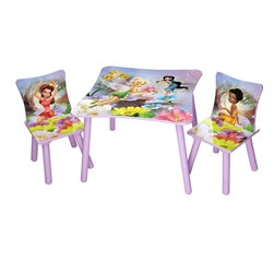 Disney Fairies Table and 2 Chairs Set - Girls can use this kid-size Disney Fairies table and chair set for playing, eating, crafting and more.