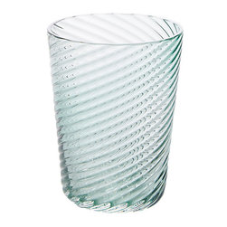 """Nouvel Studio - Twist Tumble, Tourmaline - The Beauty of Nouvel Studio Glass pieces are the mix in precise proportions of design, craftsmanship and Technique. Twist tumbler measures 3.4""""x4.3"""". Made in Mexico."""