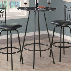 "Monarch - Grey Marble / Charcoal Metal 30""Dia Bar Table - Enhance the trendy contemporary look of your casual dining area with this charcoal metal 30"" diameter bar table. Perfect for any space, this piece features sleek tube legs and a grey marble top to place appetizers or drinks.;Features: Color: Grey Marble;Weight: 12 lbs.;Dimensions: 30""L x 30""W x 42""H"