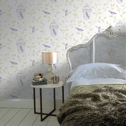 Graham & Brown - Birds & Cages Wallpaper - We have created a beatuiful Birds & Cages with suttle colours, this would look good as a feature wall and all 4 walls, the mixture between the green, purple and a white background make them stand out.